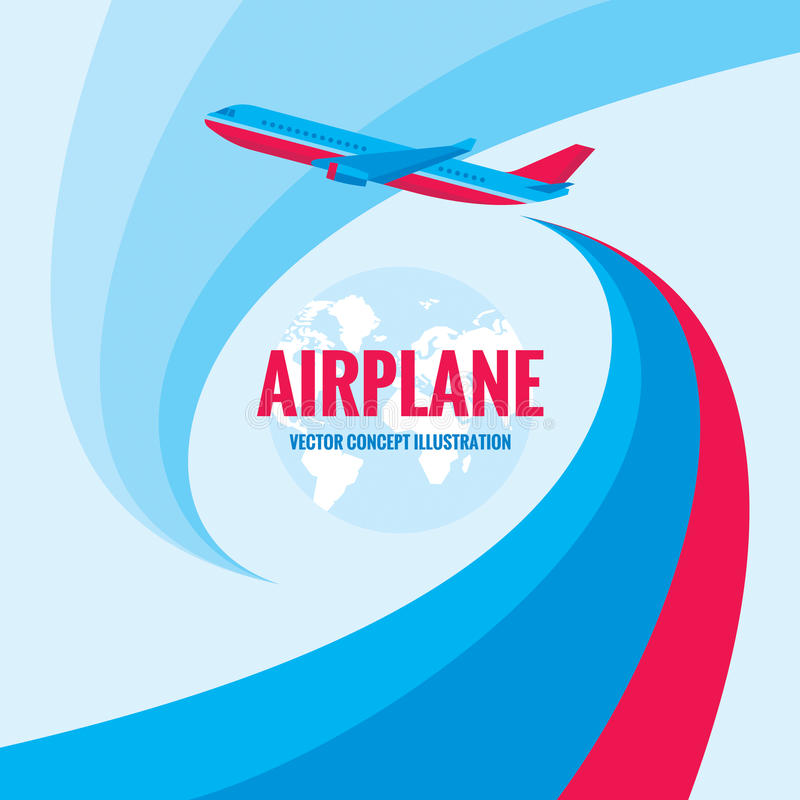 Samolot - wektorowa pojęcie ilustracja z abstrakcjonistycznym tłem Samolotowa sylwetki ilustracja royalty ilustracja