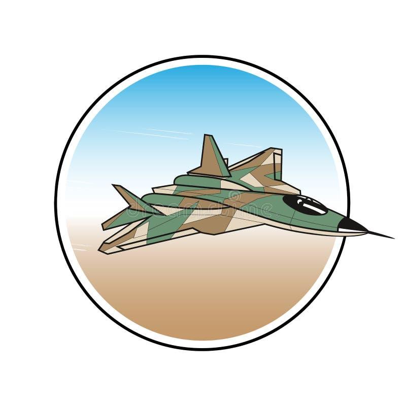 Samolot wojskowy etykietka napadanie wojownik w niebie royalty ilustracja