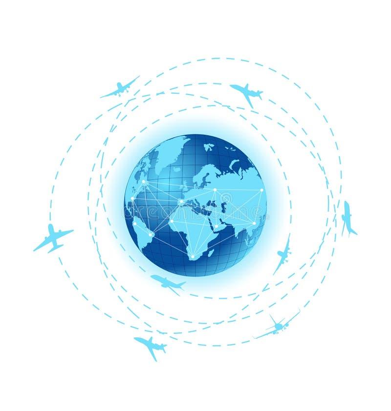 Samolot wykłada z planety ziemią ilustracji