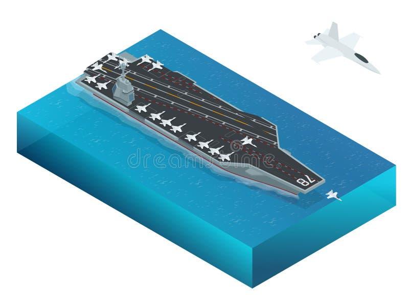 Samolot wyznaczający wspomagany energią jądrową lotniskowiec Isometric wektorowej marynarki wojennej Jądrowy lotniskowiec ilustracji