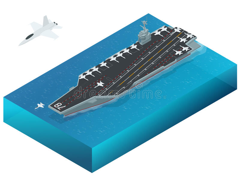 Samolot wyznaczający wspomagany energią jądrową lotniskowiec Isometric wektorowej marynarki wojennej Jądrowy lotniskowiec ilustracja wektor