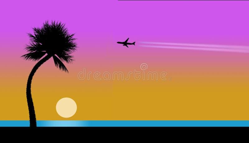 Samolot z contrail zobaczy w niebie podróżuje tropikalna plaża, pelikany, zmierzch, juggler, drzewko palmowe, ocean i plaża, ilustracji
