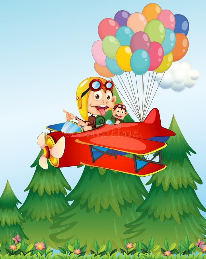Samolot z małpami ilustracja wektor