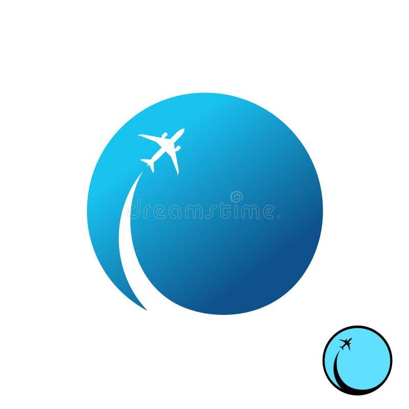 Samolot z niebo round logem Dżetowy samolot z inwersja śladem royalty ilustracja
