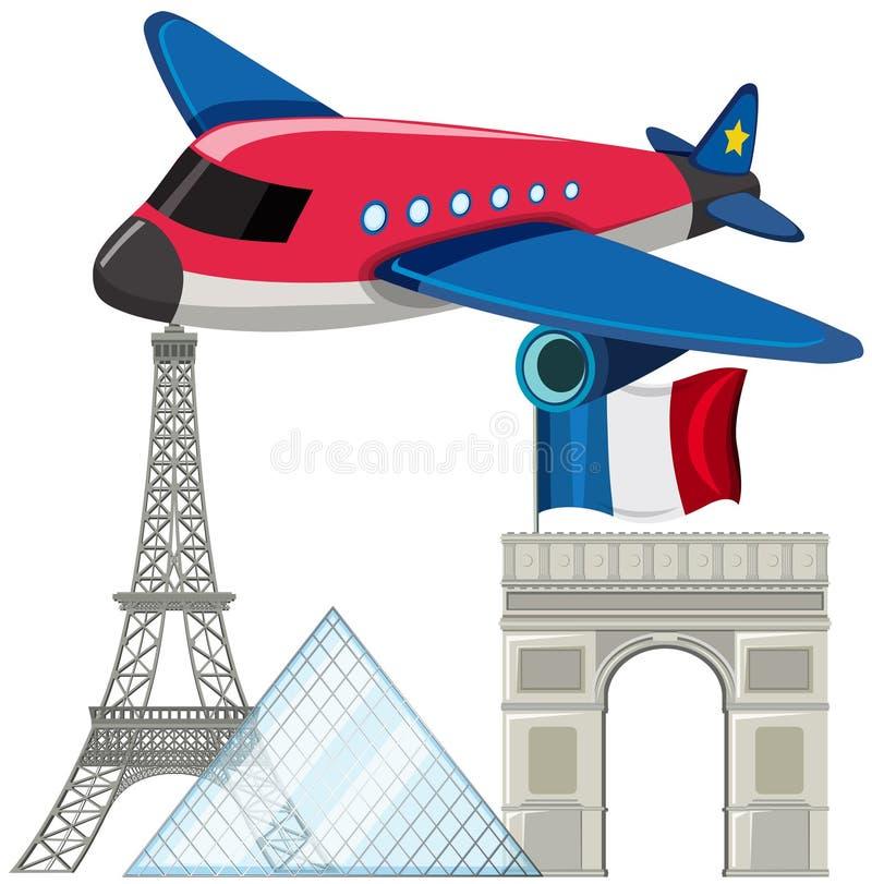 Samolot z Paris punktami zwrotnymi ilustracja wektor