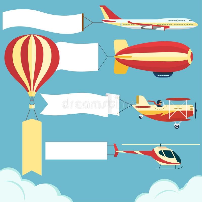 Samolot z plakatem ilustracja wektor