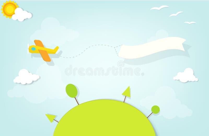 Samolot z reklamowym sztandarem ilustracji