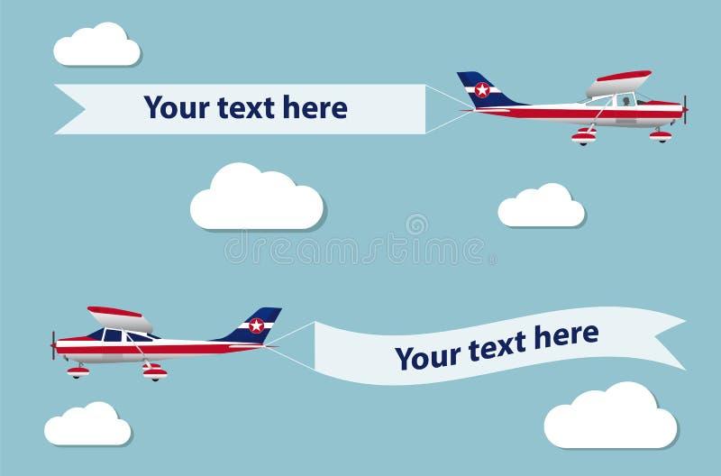 Samolot z sztandarem royalty ilustracja
