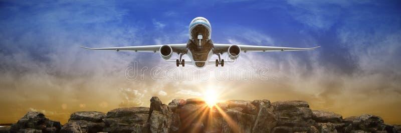 samolot z zmierzchu zabranie 3d ilustracja wektor
