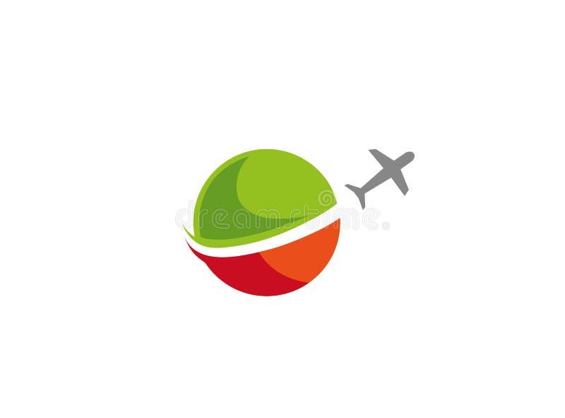 Samolot zdejmuje na całym świecie biznesową podróż dla logo projekta royalty ilustracja