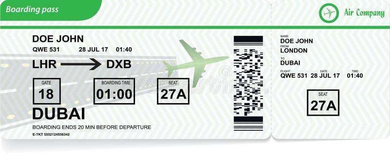 Samolotowa abordaż przepustka Wektorowy linia lotnicza bilet ilustracji