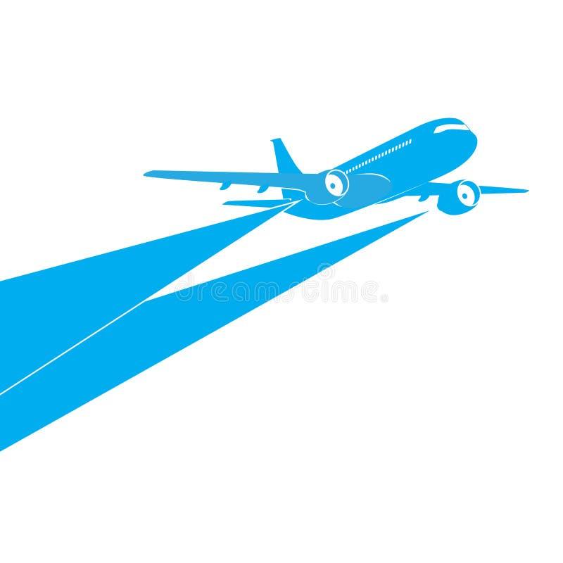 Samolotowa błękitna sylwetka na białym tle ilustracja wektor