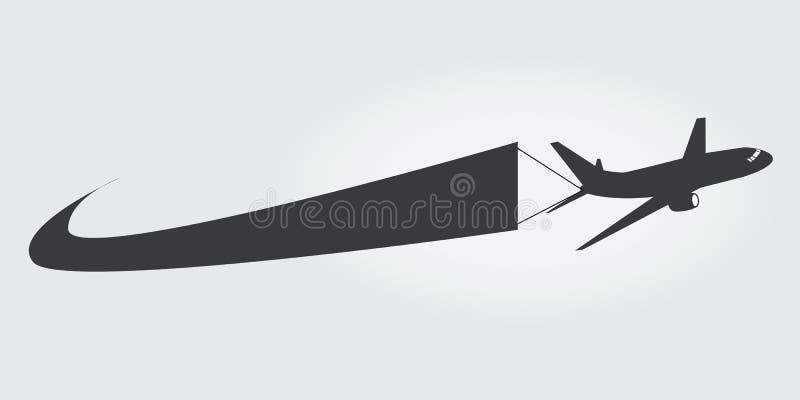 Samolotowa ikona z sztandarem ilustracji