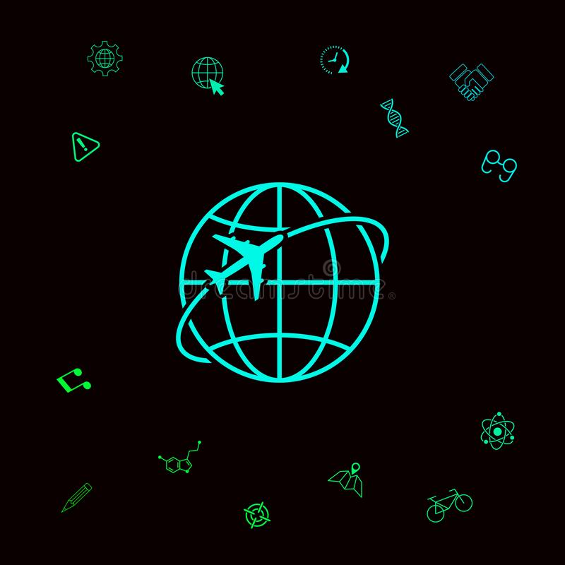Samolotowa komarnica wokoło planety ziemi loga ikony ilustracja wektor