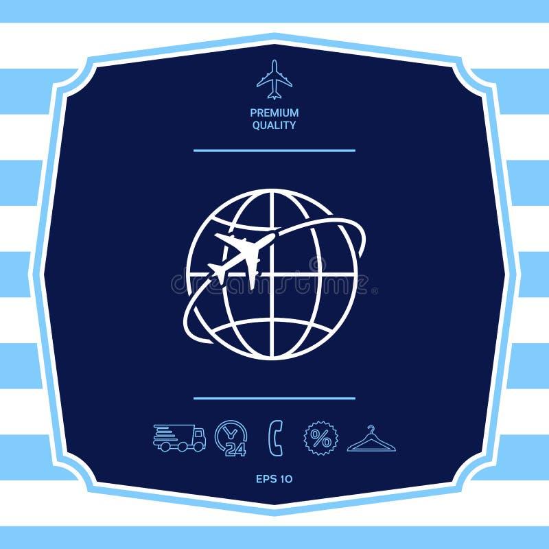 Samolotowa komarnica woko?o planety ziemi loga ikony ilustracja wektor