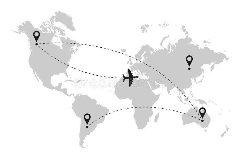 Samolotowa lot trasa na światowej mapie z kropkowaną kreskową ścieżki i lokaci szpilką wektor royalty ilustracja