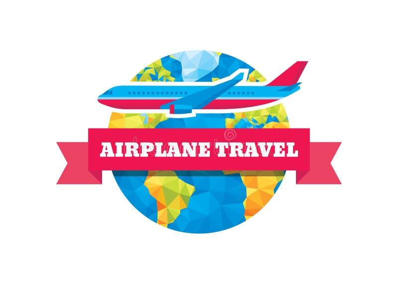 Samolotowa podróż - wektorowa pojęcie ilustracja Abstrakcjonistyczna kula ziemska, faborek i samolot, royalty ilustracja