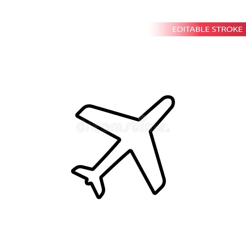 Samolotowe czarne kontur ikony Cienieje kreskową samolotową ikonę ilustracji