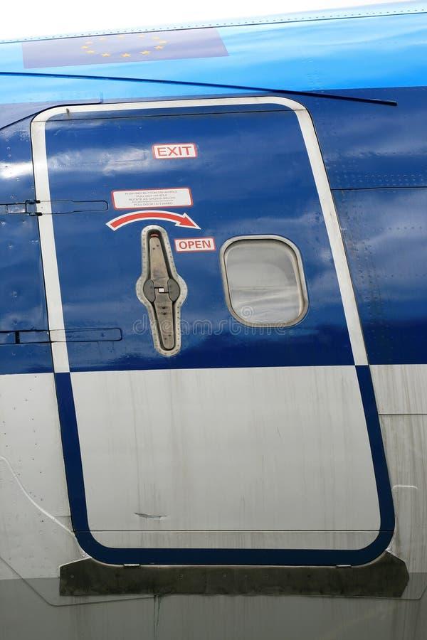samolotowe drzwiowe instrukcje obraz stock