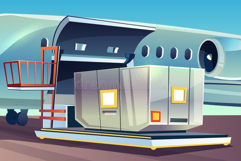 Samolotowe frachtowe ładownicze wektorowe doręczeniowe logistyki ilustracji