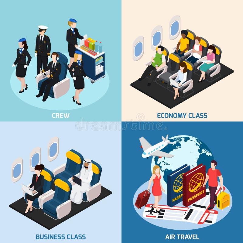 Samolotowe pasażera pojęcia ikony Ustawiać royalty ilustracja