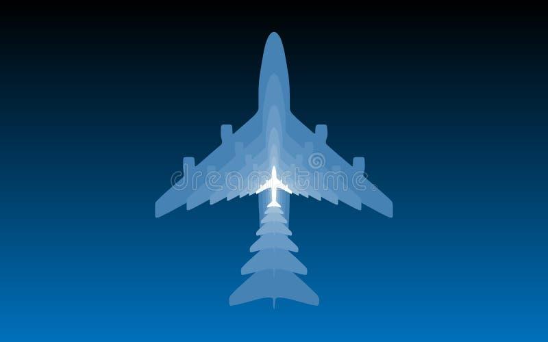 Samolotowe sylwetki na błękitnym tle ilustracji