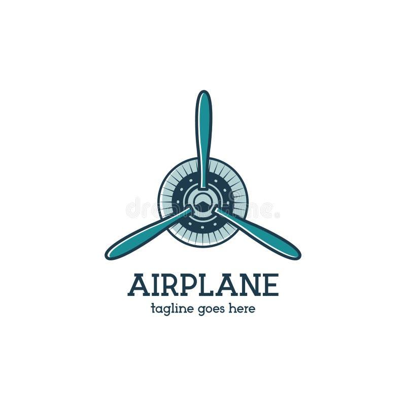 Samolotowego śmigła loga szablon z promieniowym silnikiem Retro Płaska odznaka Płaski projekt dla druków na t koszula, odziewa ilustracja wektor