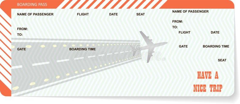 Samolotowego bileta puste miejsce Pomarańczowa abordaż przepustka royalty ilustracja