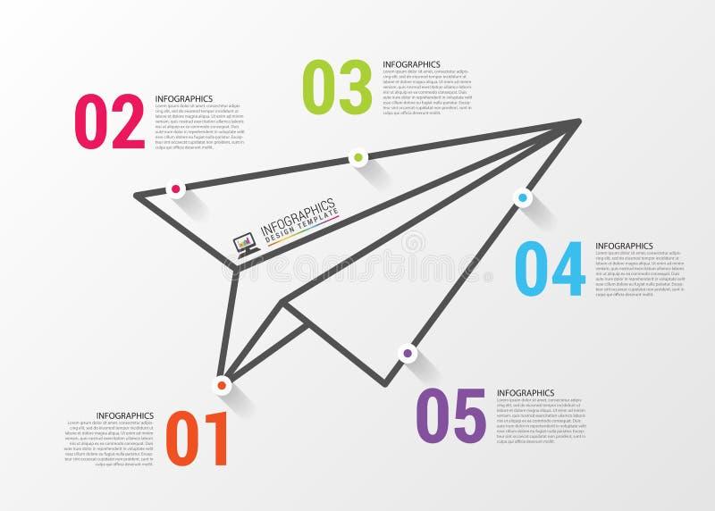samolotowego ilustracyjnego układu rękodzielniczy origami papieru planu wektor Infographics pojęcie gdy projekta ładny część stik ilustracja wektor