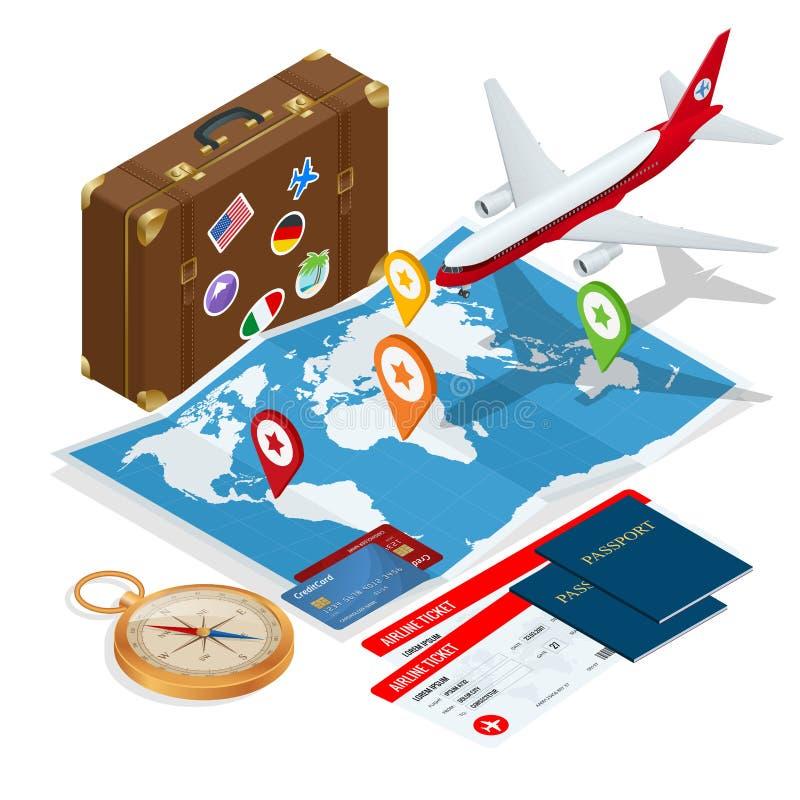 Samolotowej paszportowej lot podróży podróżniczej komarnicy obywatelstwa powietrza pojęcia podróżna podróż i turystyki tło mieszk ilustracji
