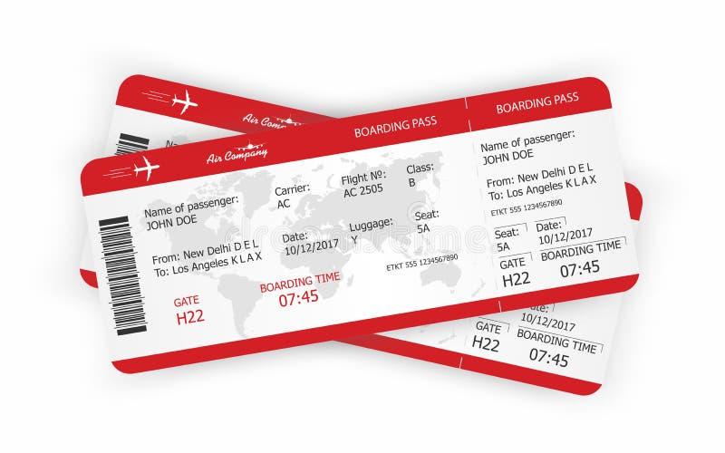Samolotowi bilety Abordaż przepustki biletów szablon royalty ilustracja