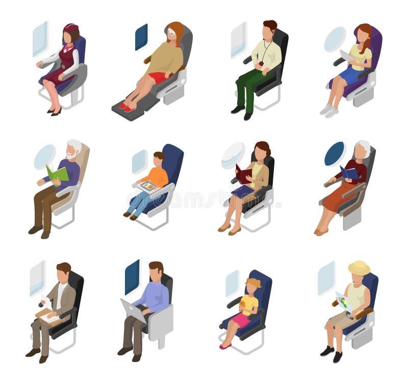 Samolotowi pasażerscy wektorowi ludzie biznesmen kobiety charakteru obsiadania w płaskim pobliskim nadokiennym ilustracyjnym loci ilustracji