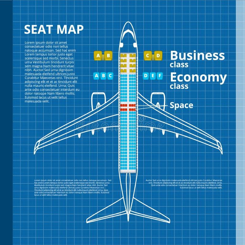 Samolotowy biznesu Lub gospodarki klasy Seat mapy Biały Konturowy szablon royalty ilustracja