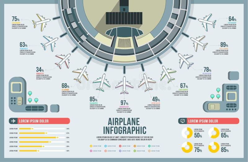 Samolotowy infographic ustalony wektor, projekta budynek, ikony grafiki transport, linii lotniczej mapa nowożytna, krajobrazowy,  royalty ilustracja