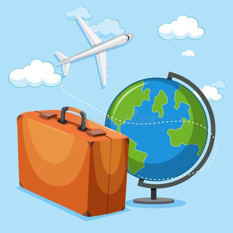 Samolotowy kuli ziemskiej i bagażu pojęcie ilustracja wektor