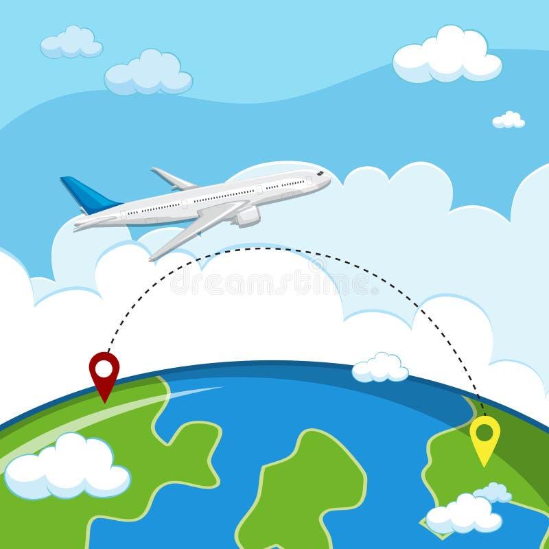 Samolotowy latanie miejsce przeznaczenia ilustracja wektor