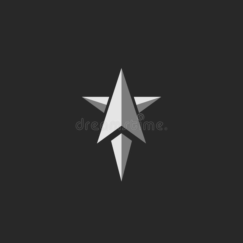 Samolotowy logo w abstrakcjonistycznym gwiazdowym kształcie, początkowy strzałkowaty kierunku symbol, pomyślny rakietowy wodowani ilustracja wektor