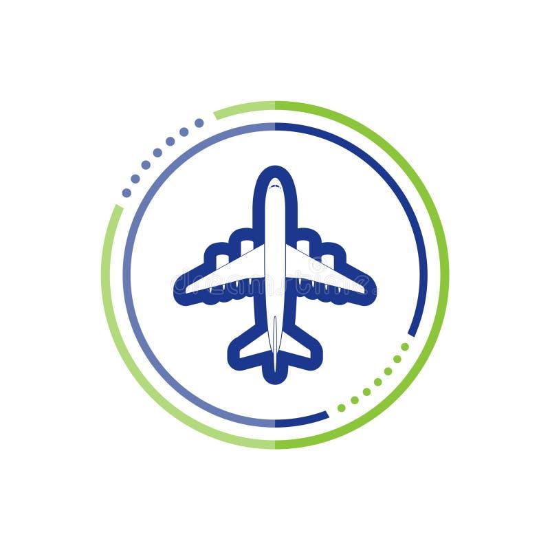 Samolotowy lot podróży symbol, Płaskiego samolotu latający samolot widok royalty ilustracja