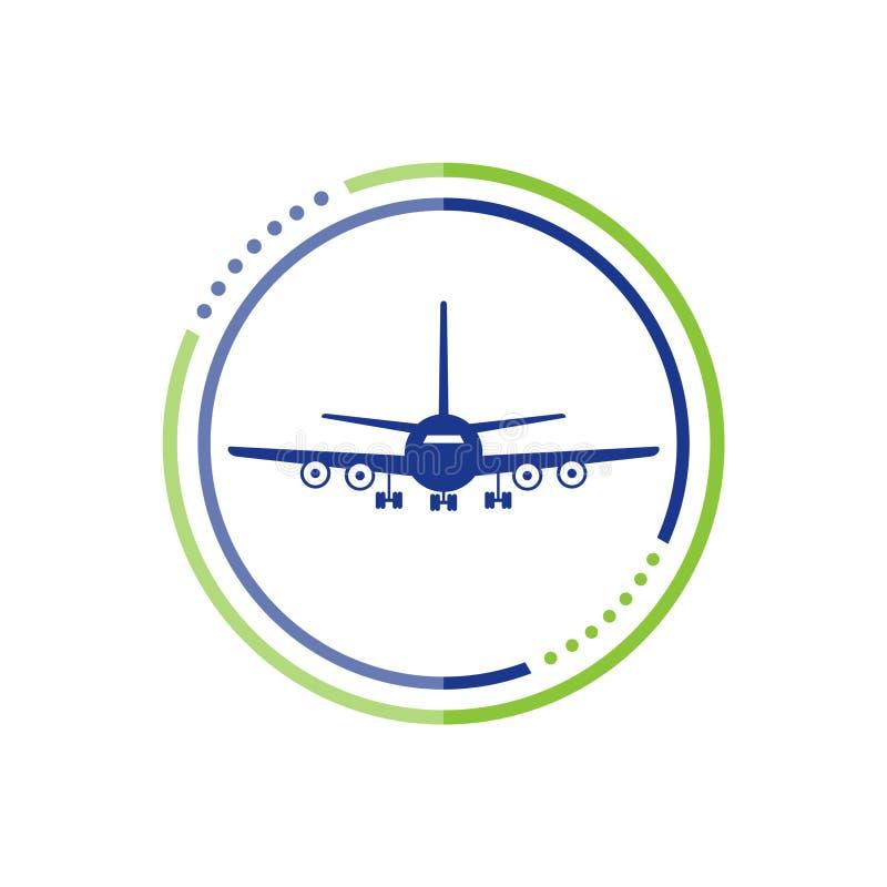 Samolotowy lot podr??y symbol, P?askiego samolotu lataj?cy samolot widok ilustracji