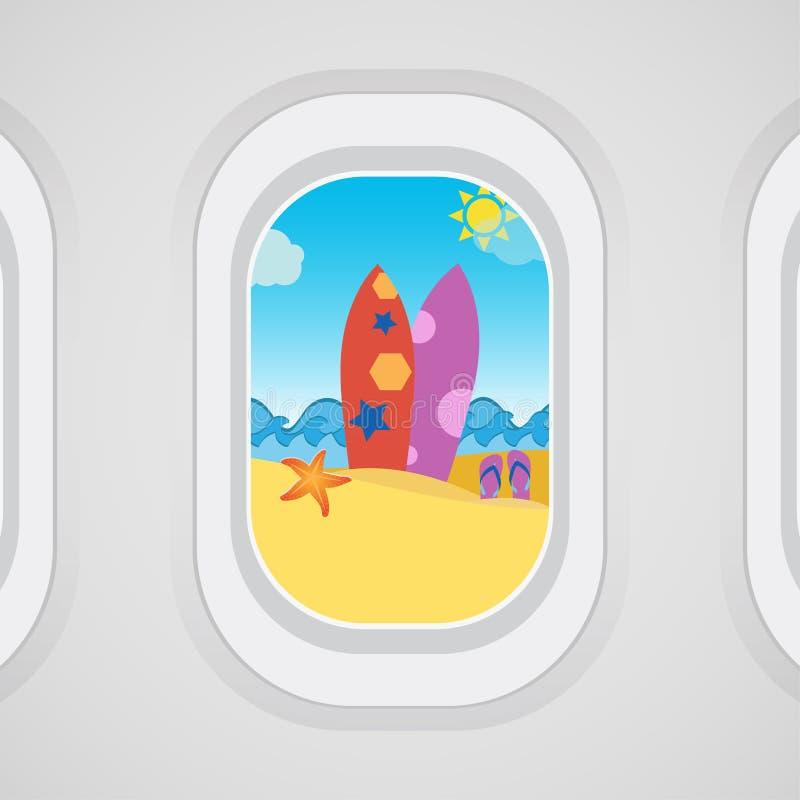 Samolotowy nadokienny widok: surfboard, piasek, trzepnięcie klapy, rozgwiazda, morze ilustracji