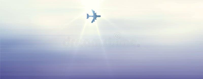Samolotowy omijanie pod światłem słonecznym w pięknym niebieskim niebie z chmurny komputer wytwarzającym skutka wizerunkiem  ilustracja wektor