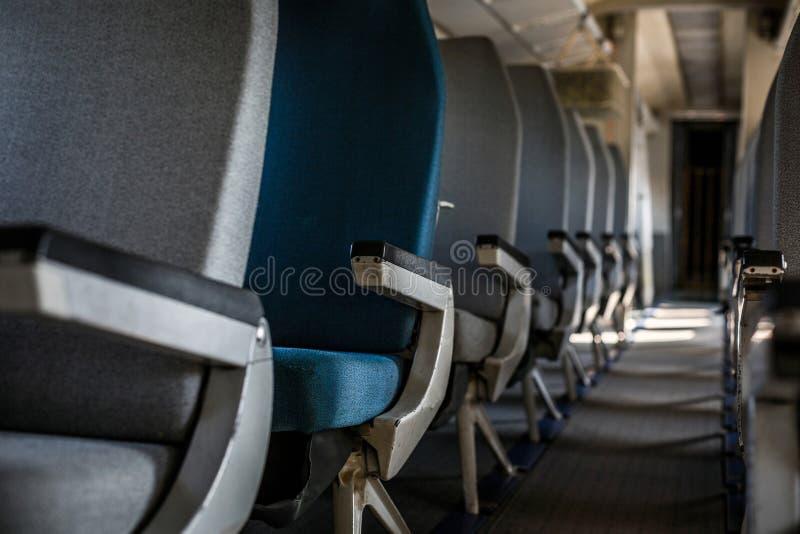 Samolotowy wnętrze z siedzeniami zdjęcia royalty free