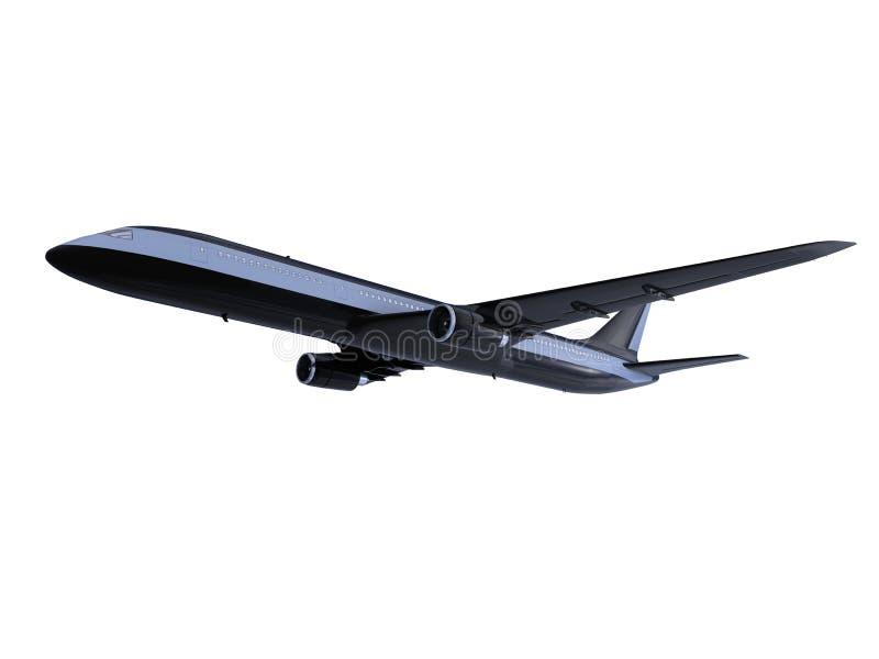 samolotu czerń odosobniony widok ilustracja wektor