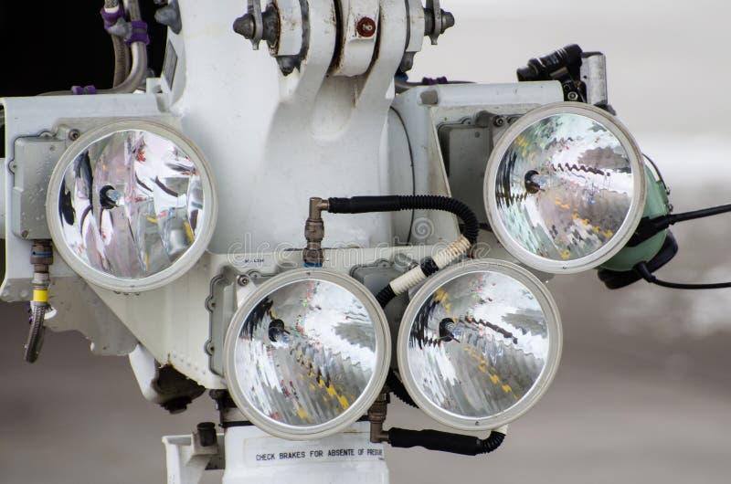 Samolotu cztery reflektoru zakończenie Lotnictwa wyposażenie i fotografia royalty free