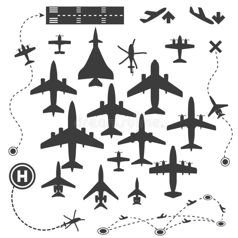 Samolotu lub samolotu ikona Ustawiająca Inkasowa Wektorowa sylwetka ilustracja wektor
