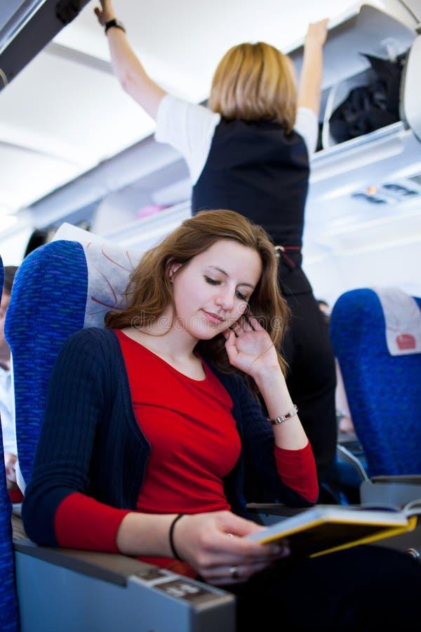 samolotu pasażer deskowy żeński obraz royalty free