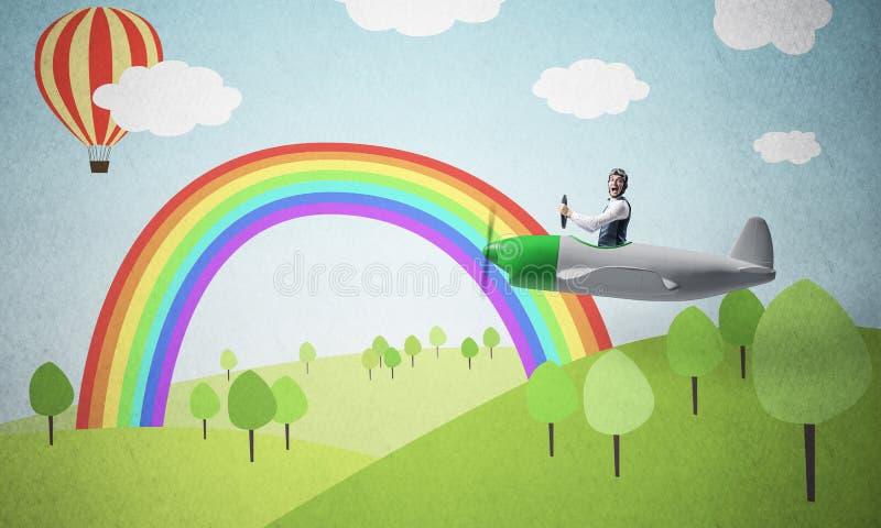 Samolotu pilot w biała księga samolocie obraz stock