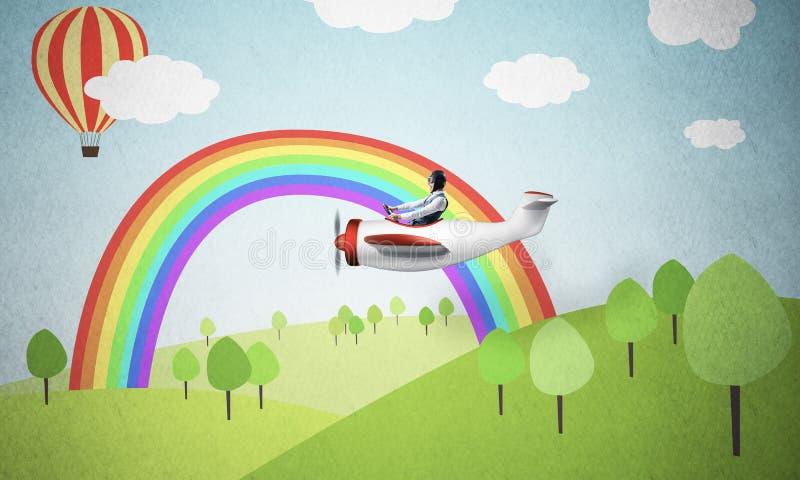 Samolotu pilot w biała księga samolocie obrazy royalty free