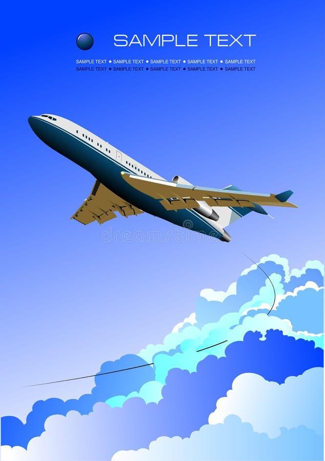 Samolotu plakat z pasażerskim samolotowym wizerunkiem royalty ilustracja
