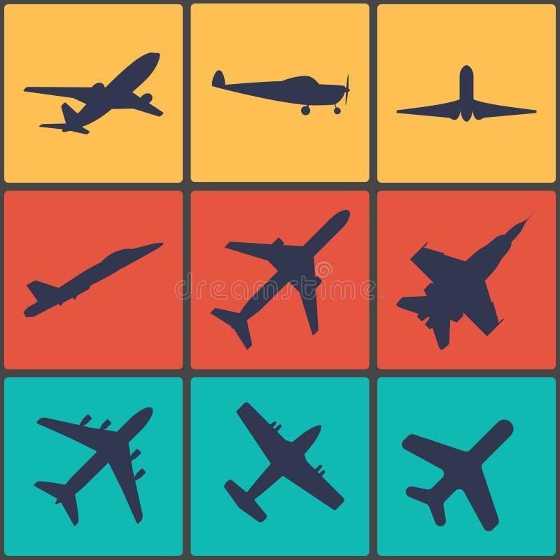 Samolotu znak Płaski symbol łatwy redaguje ikonę target2112_0_ Lot płaska etykietka royalty ilustracja